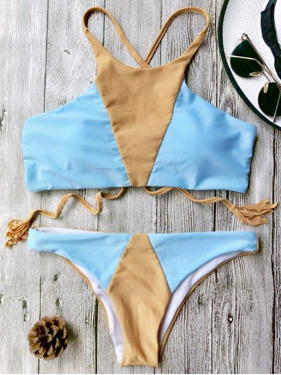 Juego de bikini Colorblock con cuello alto - Azul+Marrón M
