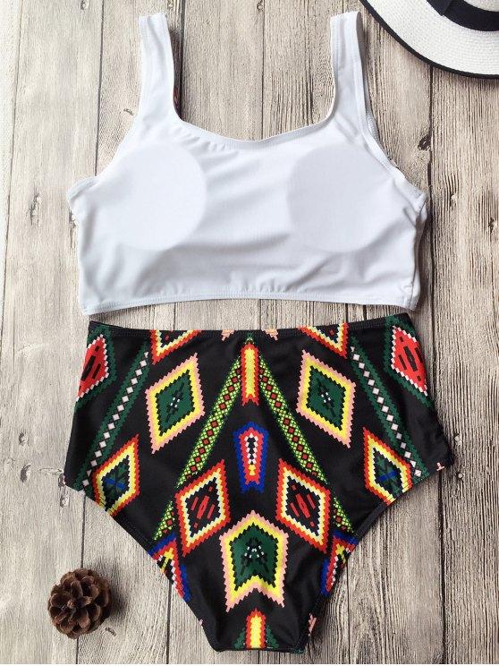 Argyle High Waist Butterfly Print Bikini Set - WHITE XL Mobile