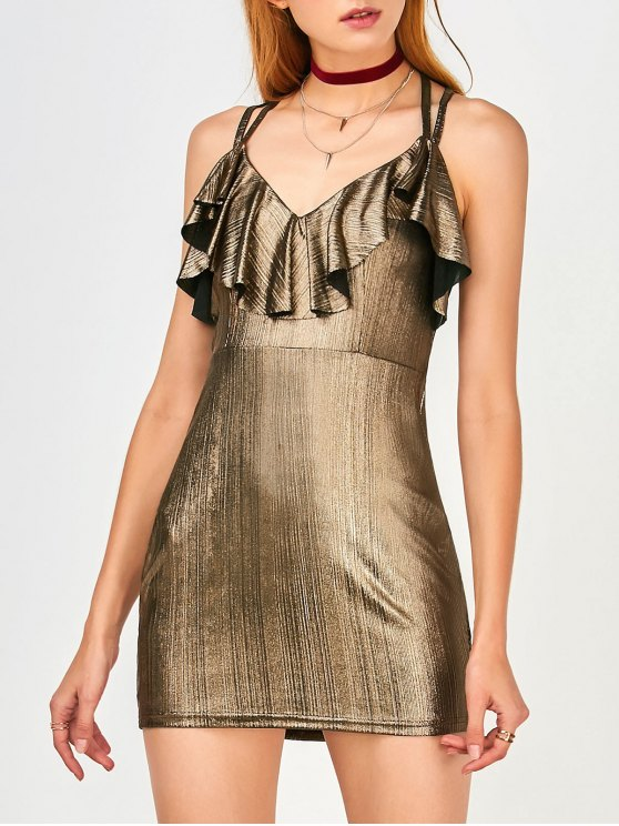 best Ruffles Strappy Club Dress - GOLDEN M