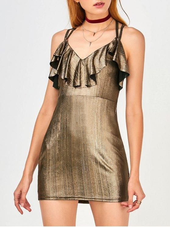 Ruffles Strappy Club Dress - Dorado S