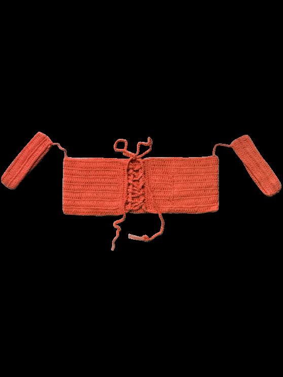 Off The Shoulder Crochet Bikini Crop Top - JACINTH ONE SIZE Mobile