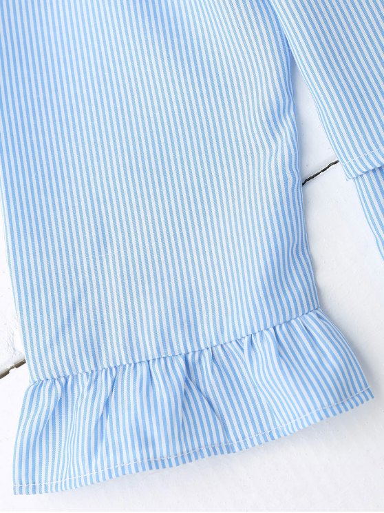 Lace Up Ruffle Poplin Blouse - BLUE AND WHITE S Mobile