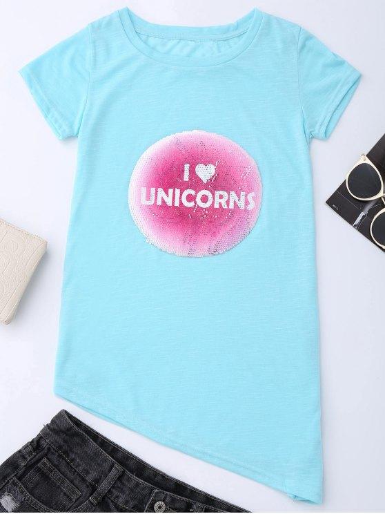 Camiseta de manga corta con letras asimétricas - Azul Claro S