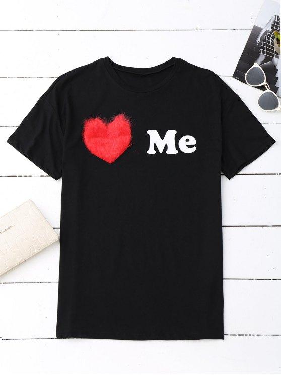 lady Love Me Graphic Oversized Tee - BLACK S