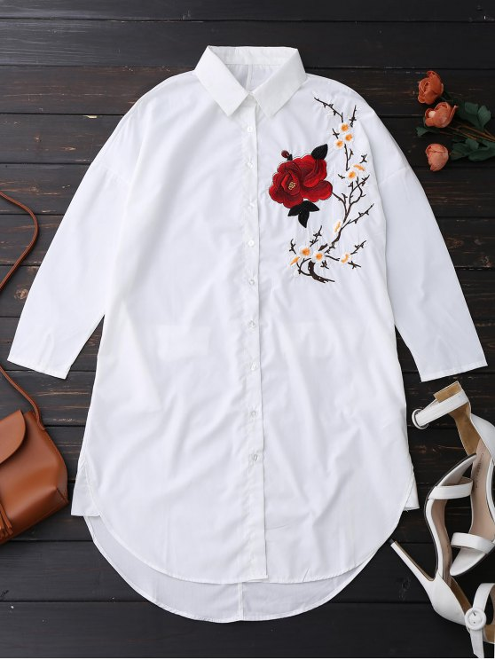 unique Floral Embroidered Tunic Shirt - WHITE L