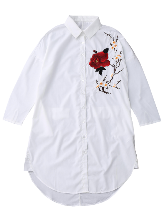 Floral Embroidered Tunic Shirt - WHITE M Mobile