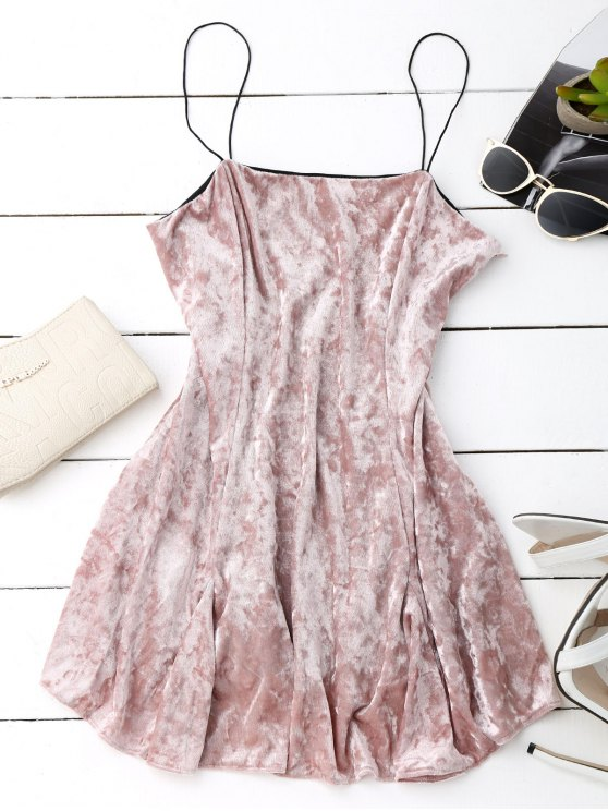 trendy Velvet Mini Cami Skater Dress - PINK L