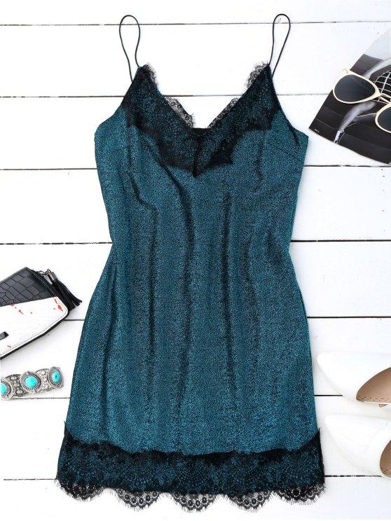 sale Eyelash Lace Glitter Slip Dress - PEACOCK BLUE S