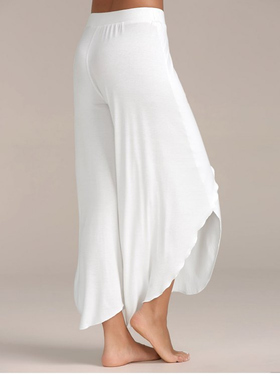 High Slit Flowy Layered Palazzo Pants - WHITE 2XL Mobile