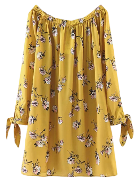 womens Floral Off Shoulder Shift Dress - YELLOW S