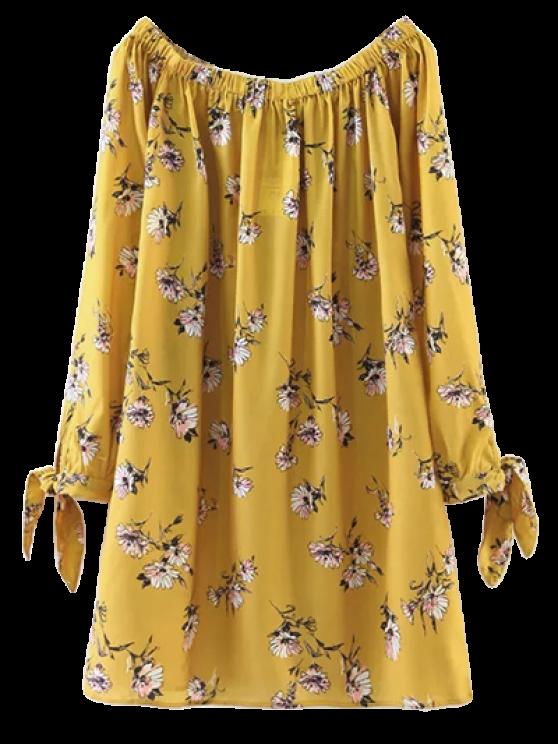 Robe jaune  droite florale à manches nouées avec un noeud de papillon à encolure bateau - Jaune M