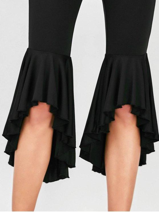 Asymmetrical Ruffles Flare Pants - BLACK M Mobile