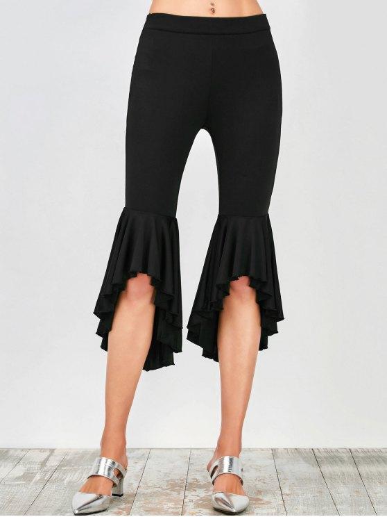 Asymmetrical Ruffles Flare Pants - BLACK S Mobile