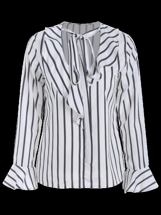 Bow Tie Ruffles Striped Blouse - STRIPE 2XL Mobile