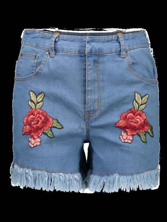 Cutoffs Floral Embroidered Denim Shorts - DENIM BLUE 2XL Mobile