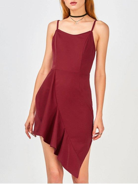 Ruffles Asymmetrical Bodycon Dress - Vino Rojo L