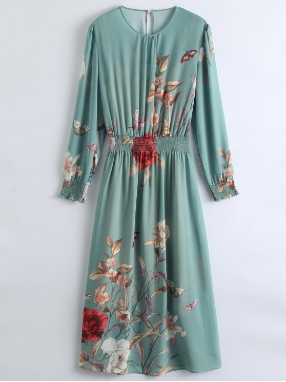 See-Through Floral Maxi Dress With Cami Dress - PEA GREEN M Mobile