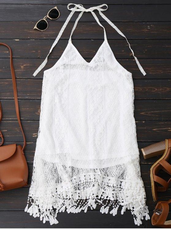 Halter Lace Fringed Backless Dress - WHITE S Mobile
