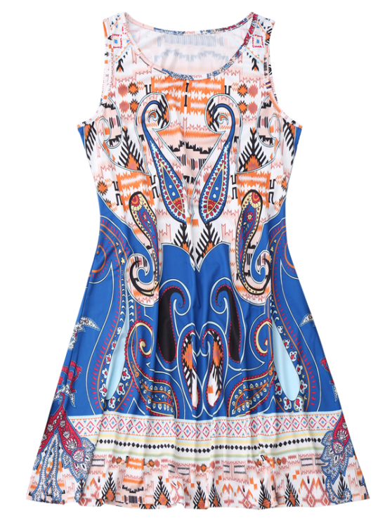 Sleeveless Graphic Print Flowy Dress - COLORMIX XL Mobile