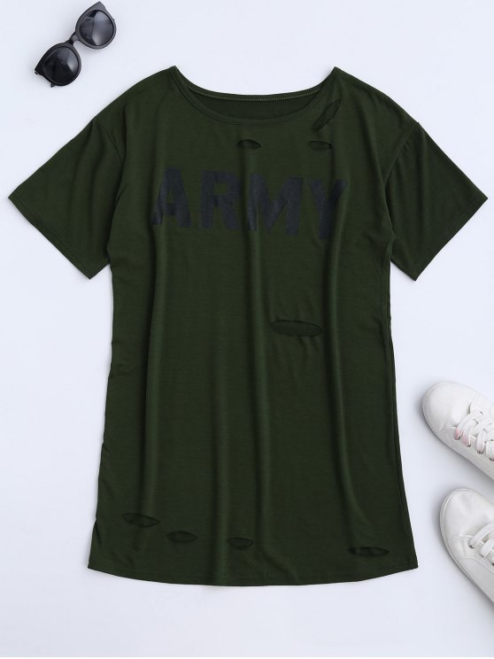 new Army Cut Out T-Shirt Dress - ARMY GREEN M