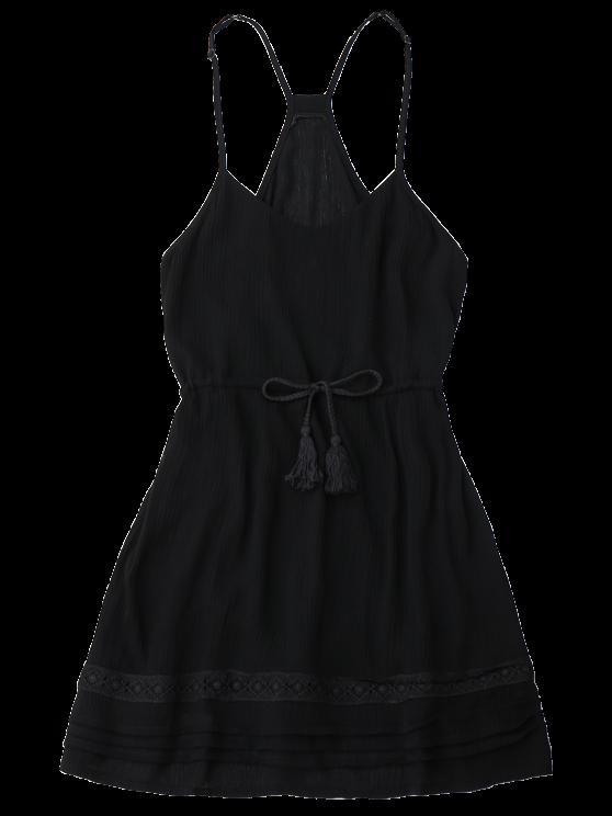 Spaghetti Straps Drawstring Waist Summer Dress - BLACK S Mobile