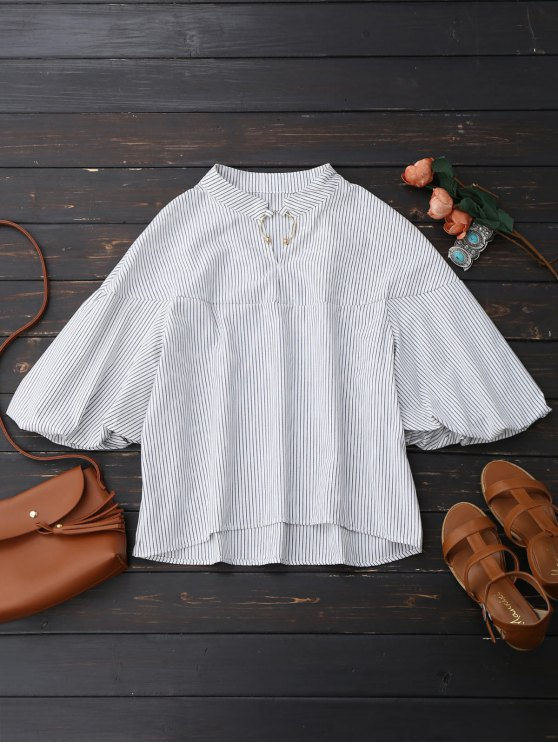 Oversized Striped Puff Sleeve Shirt - WHITE S Mobile