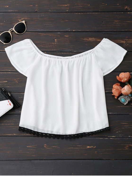 online Off Shoulder Chiffon Cropped Top - WHITE XL