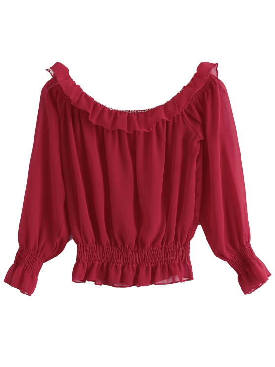 Chiffon Off Shoulder Puff Sleeve Blouse - RED ONE SIZE Mobile