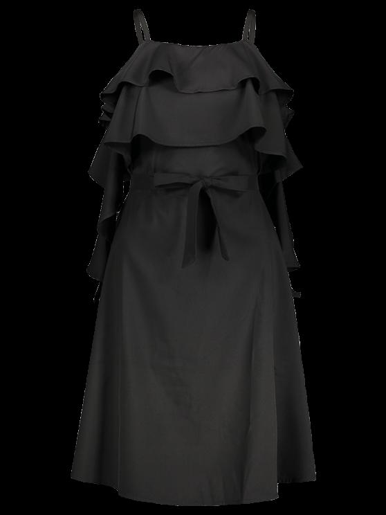 Spaghetti Straps Ruffle Dress - BLACK S Mobile