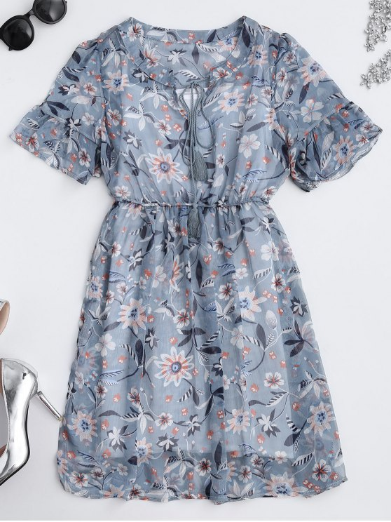 shops Sheer Floral Tie Neck Dress and Tank Top - FLORAL M