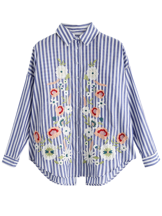 Oversized Floral Embroidered Striped Shirt - BLUE STRIPE S Mobile