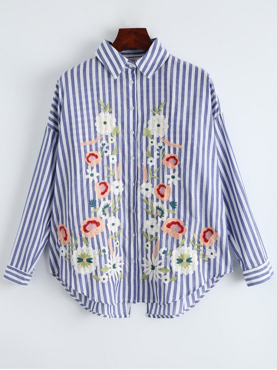 women Oversized Floral Embroidered Striped Shirt - BLUE STRIPE L
