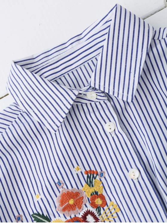 High Low Floral Embroidered Striped Shirt - STRIPE L Mobile