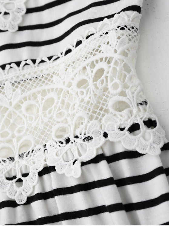Crochet Trim Flared Cami Dress - WHITE AND BLACK S Mobile