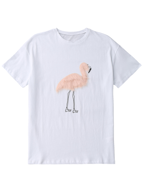 Faux Fur Bird Oversized Tee - WHITE L Mobile