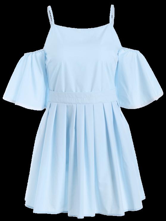 Cami Ruffles Cold Shoulder Dress - LIGHT BLUE M Mobile