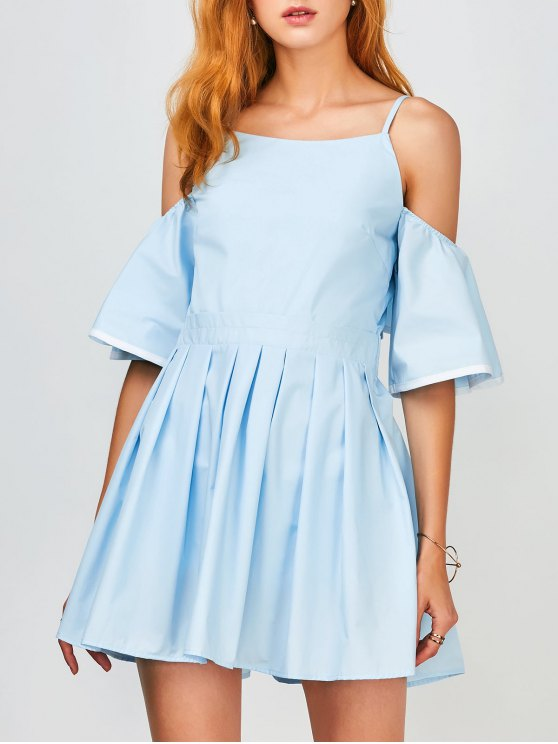 Vestido de Tirante Fino con Volantes Fuera del Hombro - Azul Claro S