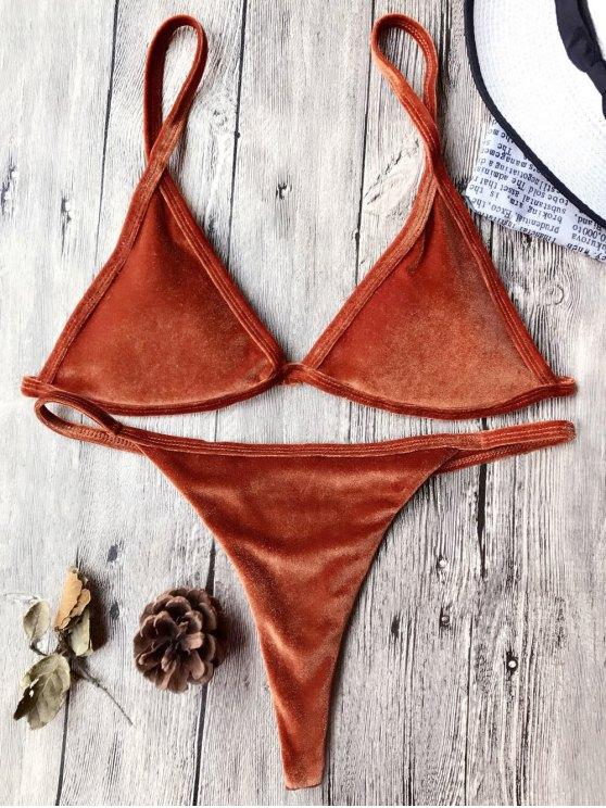 Traje de Bikini con Thong de Tirant Fino de Terciopelo con Cordón - Jacinto XL