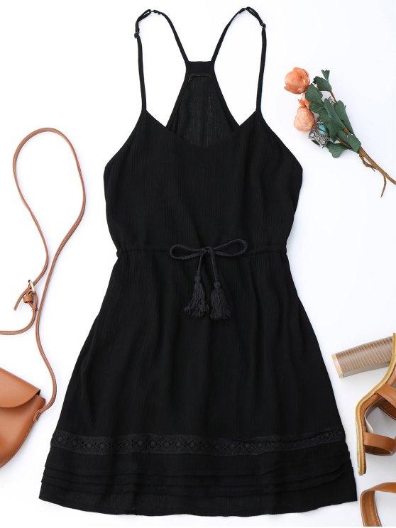 lady Spaghetti Straps Drawstring Waist Summer Dress - BLACK S