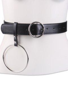 Round Metal Pin Buckle Circle Leather Waist Belt - Black