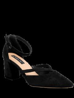 Pointed Toe Block Heel Cross Strap Pumps - Black 38