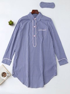 Plaid Heart Button Shirt Loungewear With Blindfold - Blue S