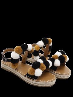 Flat Heel Stitching Pompon Sandals - Black 38
