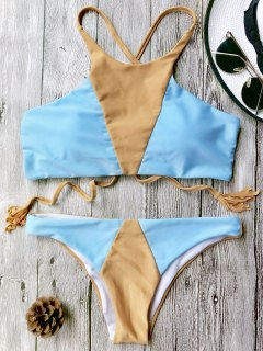 High Neck Colorblock Bikini Set - Blue And Brown L
