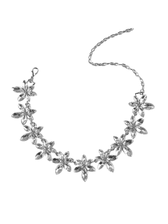 Faux Crystal Rhinestone Flower Necklace - Silver