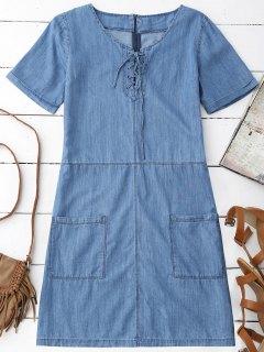 Pockets Mini Chambray Dress - Blue S