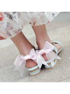 Bow Faux Leather Flat Heel Sandals - Light Blue 39
