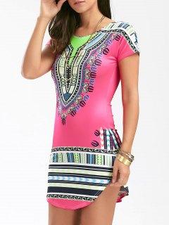 Short African Print Bodycon Dress - Tutti Frutti Xl