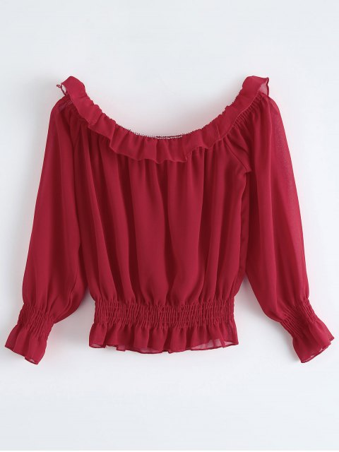 women's Chiffon Off Shoulder Puff Sleeve Blouse - RED ONE SIZE Mobile