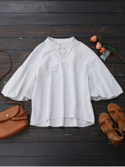 new Oversized Striped Puff Sleeve Shirt - WHITE S Mobile